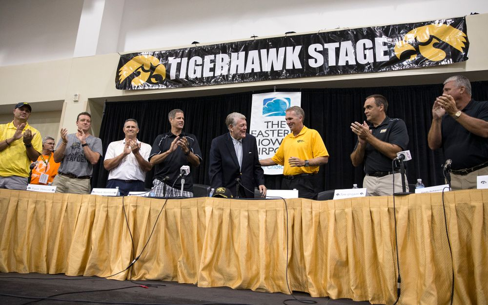 Former Hawkeye Football Head Coach Hayden Fry and some of his quarterbacks are honored following a panel discussion during Fry Fest Friday, Aug. 29, 2014 in Coralville.  (Brian Ray/hawkeyesports.com)