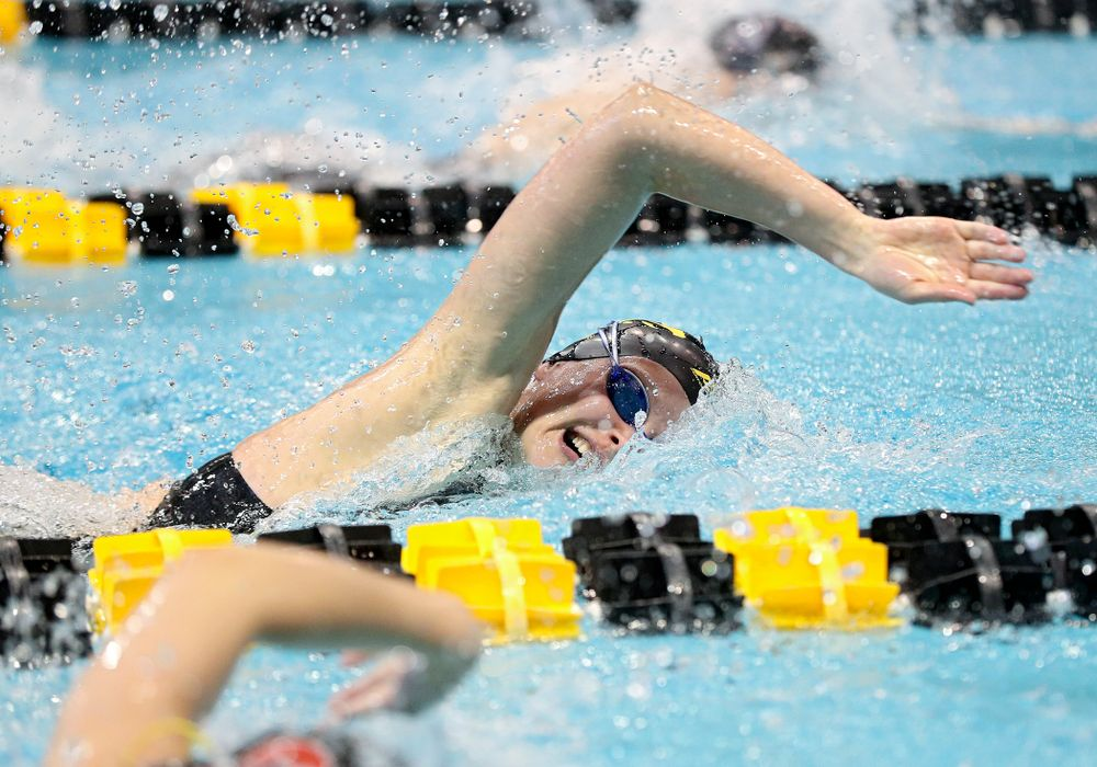 Iowa's Sarah Schemmel swims in the women's 100 yard freestyle preliminary event during the 2020 Women's Big Ten Swimming and Diving Championships at the Campus Recreation and Wellness Center in Iowa City on Saturday, February 22, 2020. (Stephen Mally/hawkeyesports.com)