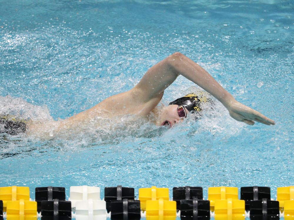 Iowa's Andrew Fierke swims the 500-yard freestyle during the bonus finals of the second day at the 2019 Big Ten Swimming and Diving Championships Thursday, February 28, 2019 at the Campus Wellness and Recreation Center. (Brian Ray/hawkeyesports.com)