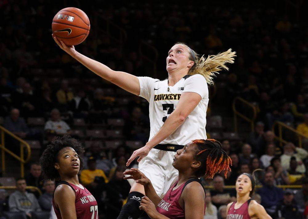 Iowa Hawkeyes guard Makenzie Meyer (3) goes up for a layup during a game against North Carolina Central at Carver-Hawkeye Arena on November 17, 2018. (Tork Mason/hawkeyesports.com)