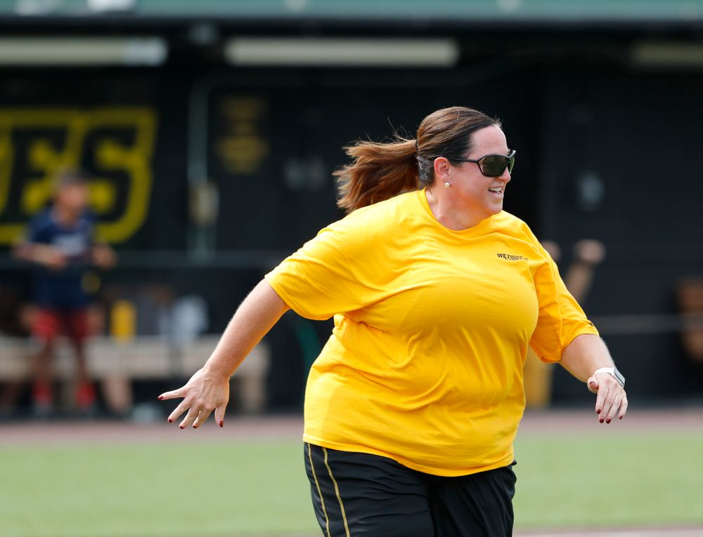 Head Field Hockey Coach Lisa Cellucci during the Iowa Student Athlete Kickoff Kickball game  Sunday, August 19, 2018 at Duane Banks Field. (Brian Ray/hawkeyesports.com)