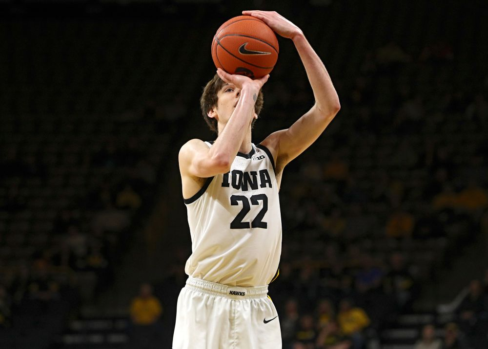 Iowa Hawkeyes forward Patrick McCaffery (22) shoots a free throw during the first half of their exhibition game against Lindsey Wilson College at Carver-Hawkeye Arena in Iowa City on Monday, Nov 4, 2019. (Stephen Mally/hawkeyesports.com)