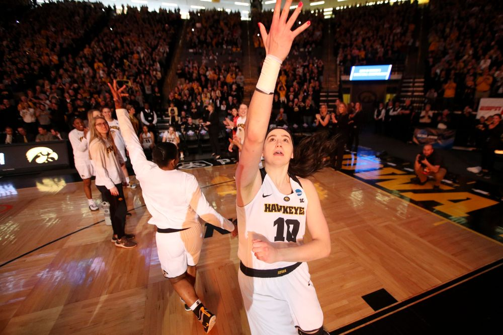 Iowa Hawkeyes forward Megan Gustafson (10) is introduced before their second round game in the 2019 NCAA Women's Basketball Tournament at Carver Hawkeye Arena in Iowa City on Sunday, Mar. 24, 2019. (Stephen Mally for hawkeyesports.com)