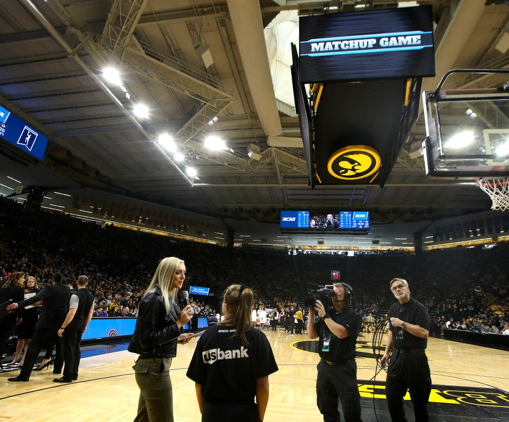 The matchup game on the video board between the first and second quarter of their second round game in the 2019 NCAA Women's Basketball Tournament at Carver Hawkeye Arena in Iowa City on Sunday, Mar. 24, 2019. (Stephen Mally for hawkeyesports.com)