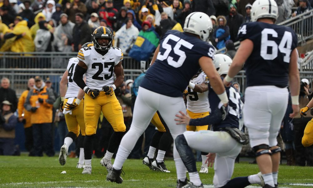 Iowa Hawkeyes wide receiver Dominique Dafney (23) blocks a punt against the Penn State Nittany Lions Saturday, October 27, 2018 at Beaver Stadium in University Park, Pa. (Brian Ray/hawkeyesports.com)