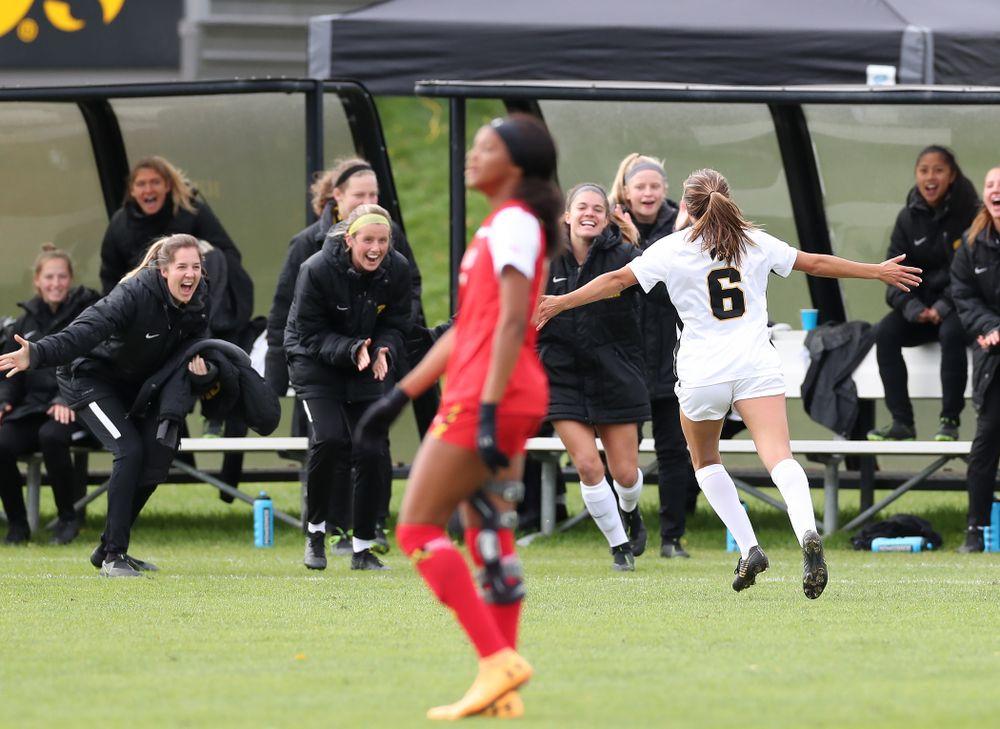 Iowa Hawkeyes midfielder Isabella Blackman (6) celebrates after scoring against the Maryland Terrapins Sunday, October 13, 2019 on senior day. (Brian Ray/hawkeyesports.com)