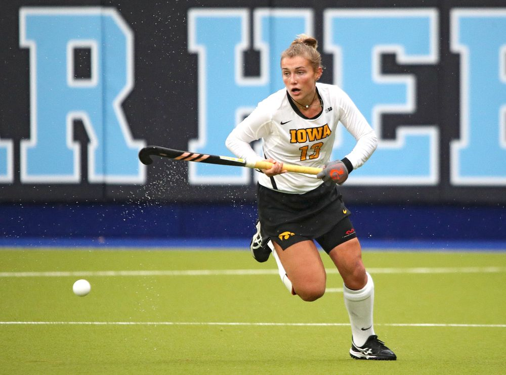 Iowa's Leah Zellner (13) chases down the ball during the first quarter of their NCAA Tournament First Round match against Duke at Karen Shelton Stadium in Chapel Hill, N.C. on Friday, Nov 15, 2019. (Stephen Mally/hawkeyesports.com)
