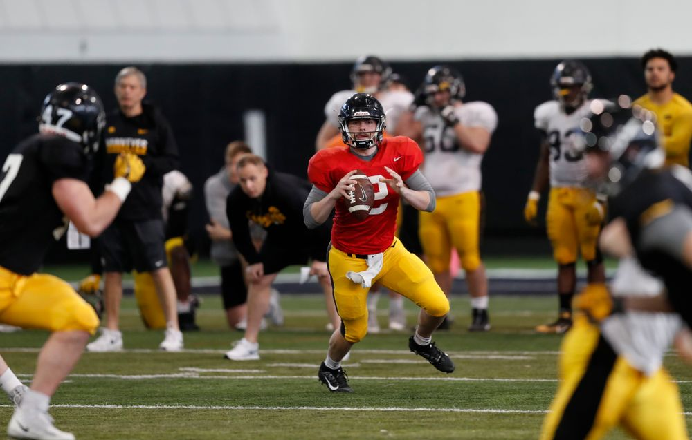 Iowa Hawkeyes quarterback Peyton Mansell (2) Wednesday, April 4, 2018 at the Hansen Football Performance Center. (Brian Ray/hawkeyesports.com)