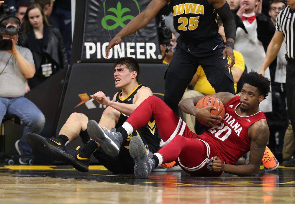 Iowa Hawkeyes forward Luka Garza (55) against the Indiana Hoosiers Friday, February 22, 2019 at Carver-Hawkeye Arena. (Brian Ray/hawkeyesports.com)