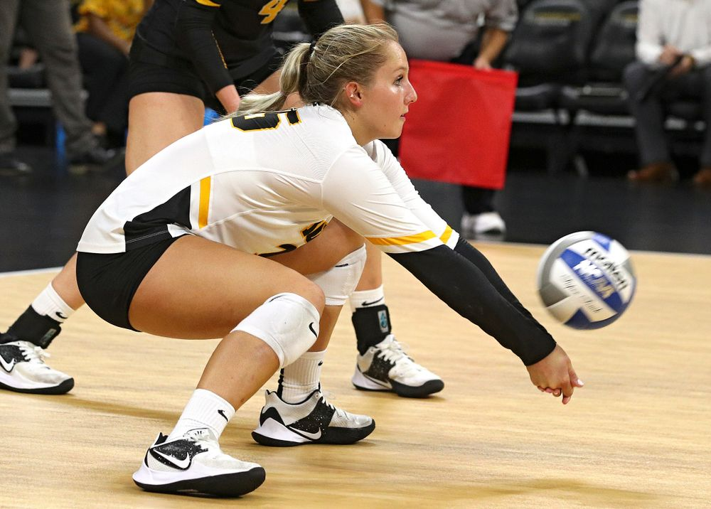 Iowa's Maddie Slagle (15) gets a dig during their Big Ten/Pac-12 Challenge match at Carver-Hawkeye Arena in Iowa City on Saturday, Sep 7, 2019. (Stephen Mally/hawkeyesports.com)