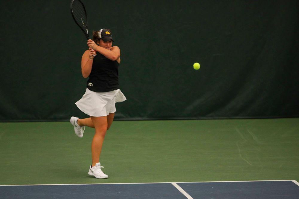 IowaÕs Danielle Bauers at womenÕs tennis senior day vs Nebraska on Saturday, April 13, 2019 at the Hawkeye Tennis and Recreation Complex. (Lily Smith/hawkeyesports.com)