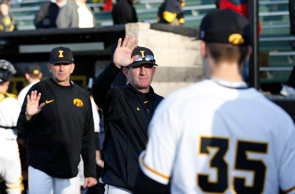 Iowa Hawkeyes associate head coach Marty Sutherland against Northern Illinois Tuesday, April 17, 2018 at Duane Banks Field. (Brian Ray/hawkeyesports.com)