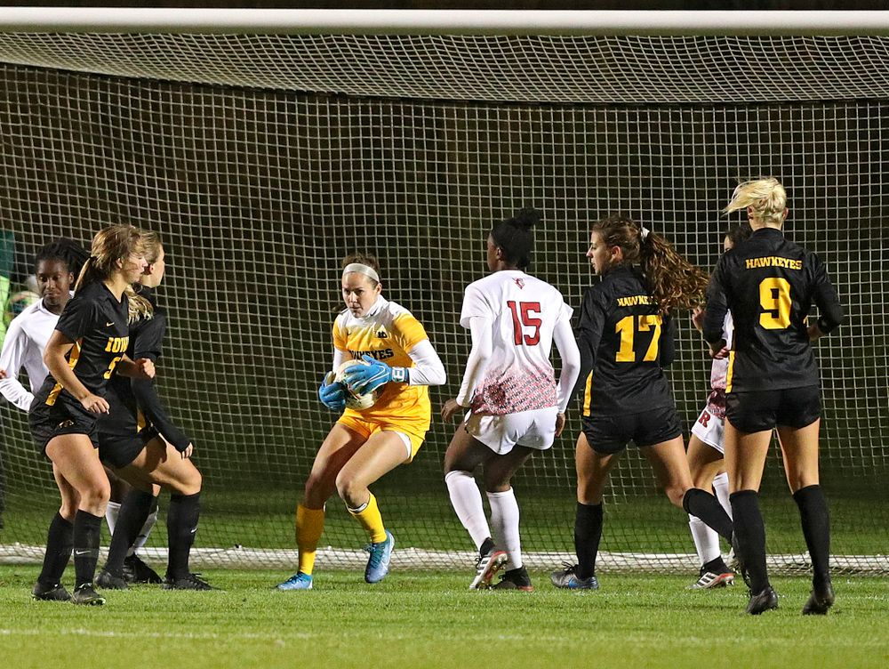 Iowa goalkeeper Claire Graves (1) grabs a shot during the second half of their match at the Iowa Soccer Complex in Iowa City on Friday, Oct 11, 2019. (Stephen Mally/hawkeyesports.com)