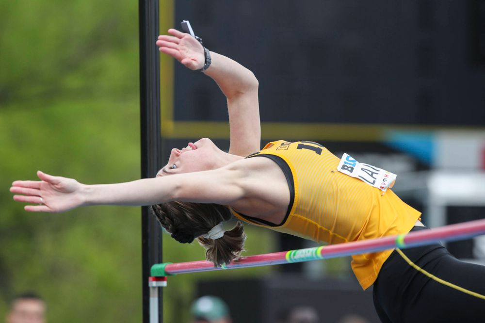 Iowa's Aubrianna Lantrip during women's high jump at Big Ten Outdoor Track and Field Championships at Francis X. Cretzmeyer Track on Sunday, May 12, 2019. (Lily Smith/hawkeyesports.com)