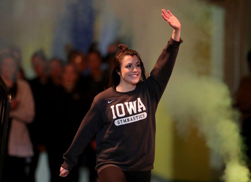 Gymhawk alumnus Nikki Youd is introduced before the Iowa Hawkeyes meet against Michigan State Saturday, February 1, 2020 at Carver-Hawkeye Arena. (Brian Ray/hawkeyesports.com)