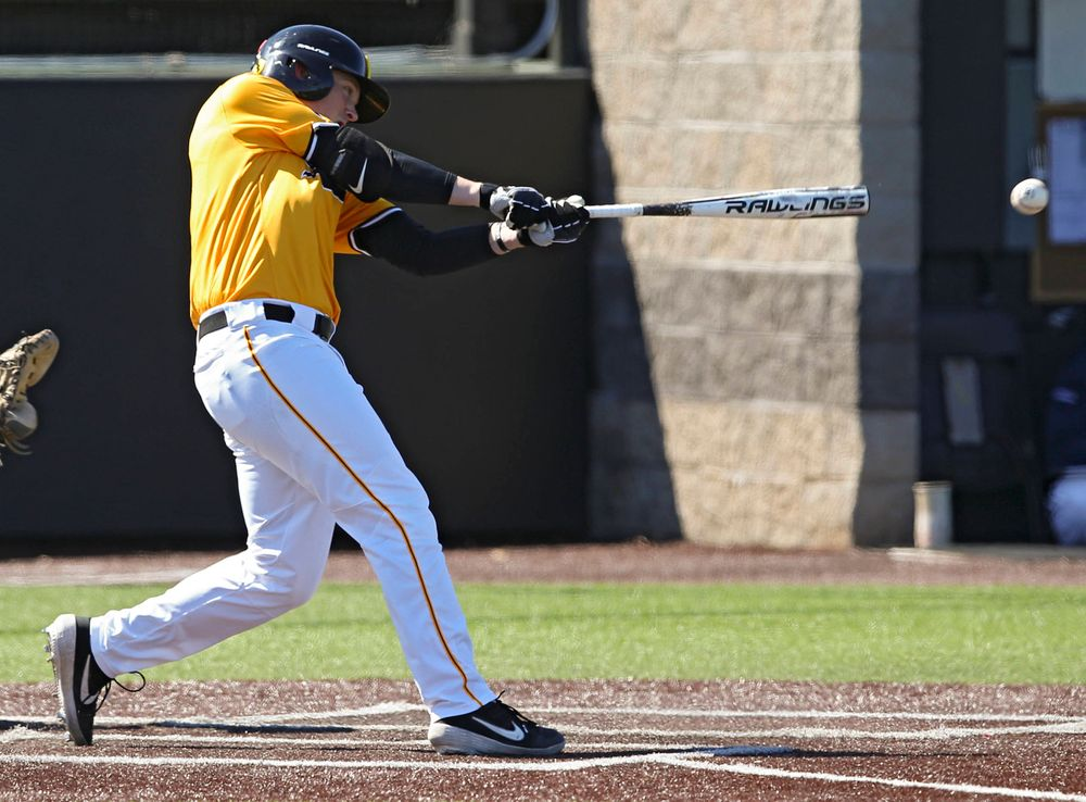 Iowa Hawkeyes first baseman Zeb Adreon (5) hits a double during the fourth inning against Illinois at Duane Banks Field in Iowa City on Sunday, Mar. 31, 2019. (Stephen Mally/hawkeyesports.com)