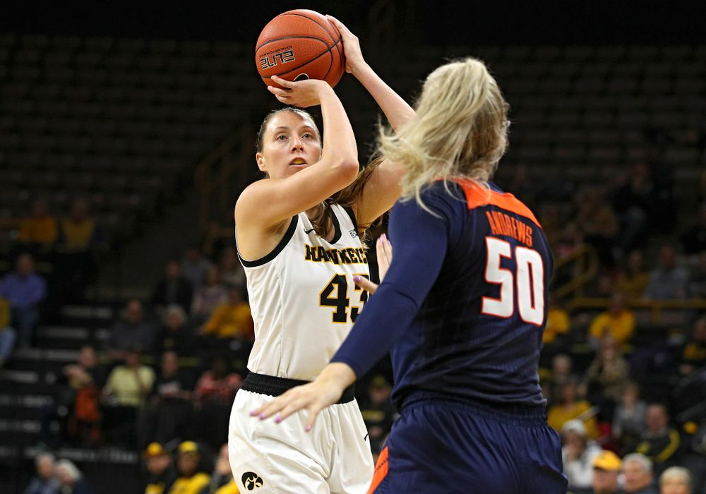 Iowa Hawkeyes forward Amanda Ollinger (43) makes a basket during the first quarter of their game at Carver-Hawkeye Arena in Iowa City on Tuesday, December 31, 2019. (Stephen Mally/hawkeyesports.com)