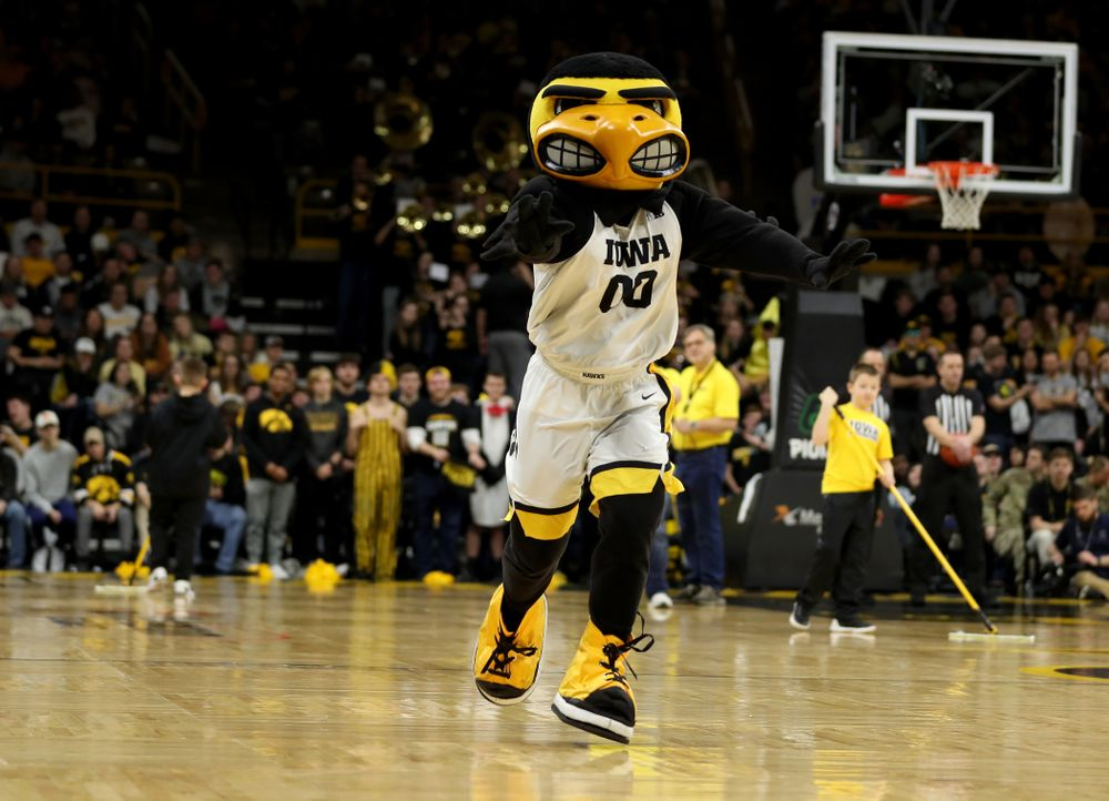 Herky The Hawk against Penn State Saturday, February 29, 2020 at Carver-Hawkeye Arena. (Brian Ray/hawkeyesports.com)