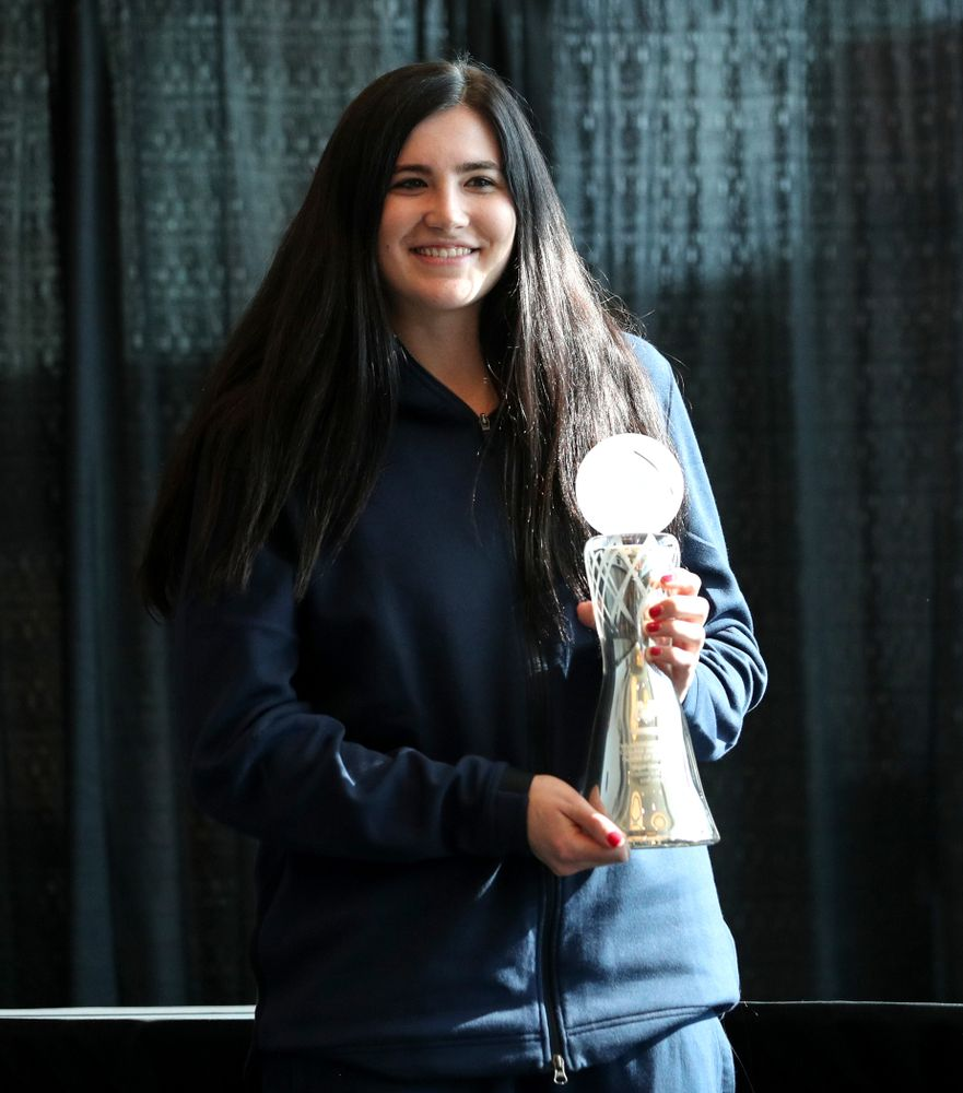 Iowa Hawkeyes forward Megan Gustafson (10) receives the Associated Press Player of the Year award during a news conference Wednesday, April 4, 2018 at Amalie Arena in Tampa, FL. (Brian Ray/hawkeyesports.com)