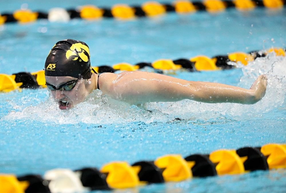 Iowa's Amy Lenderink swims the women's 200-yard butterfly event during their meet against Michigan State and Northern Iowa at the Campus Recreation and Wellness Center in Iowa City on Friday, Oct 4, 2019. (Stephen Mally/hawkeyesports.com)
