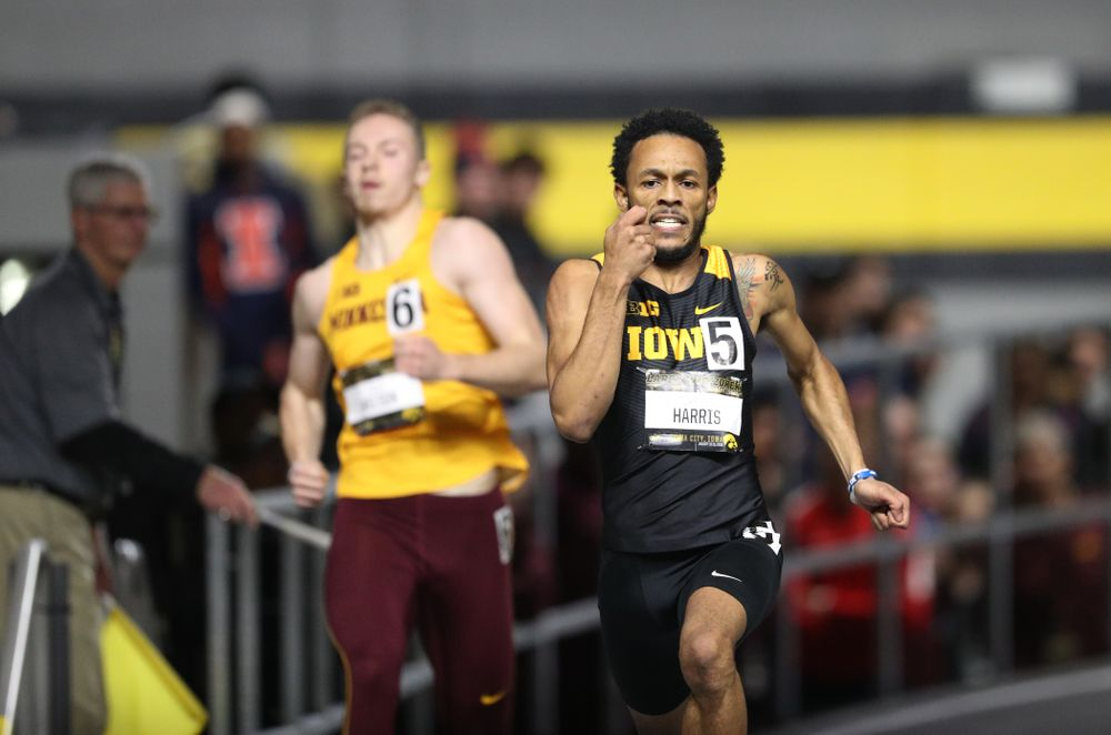 Iowa's Mar'Yea Harris runs the 200 meter premier during the 2019 Larry Wieczorek Invitational Friday, January 18, 2019 at the Hawkeye Tennis and Recreation Center. (Brian Ray/hawkeyesports.com)