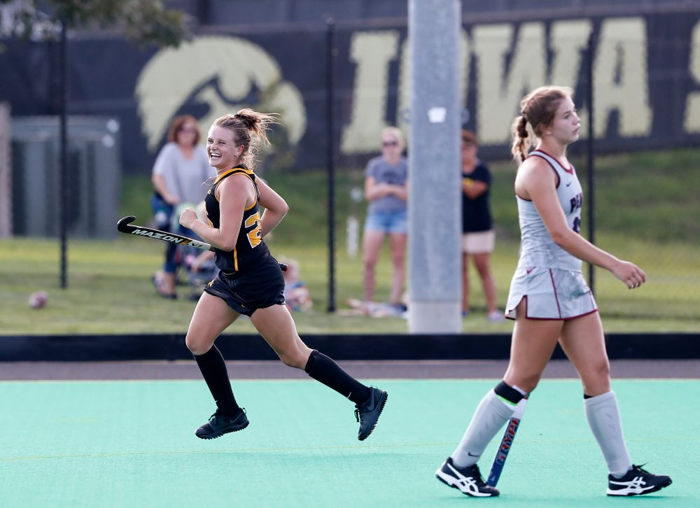 Iowa Hawkeyes Maddy Murphy (26) celebrates after scoring against the Penn Quakers Friday, September 14, 2018 at Grant Field. (Brian Ray/hawkeyesports.com)