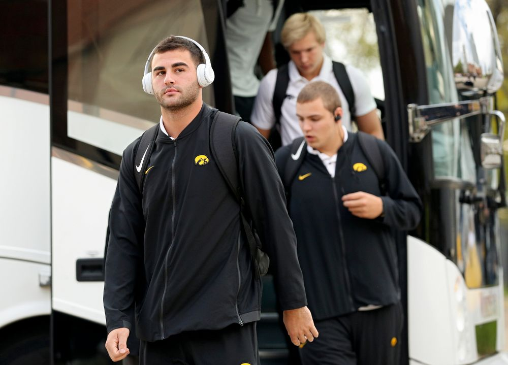 Iowa Hawkeyes wide receiver Nico Ragaini (89) arrives with his team before their game at Kinnick Stadium in Iowa City on Saturday, Oct 19, 2019. (Stephen Mally/hawkeyesports.com)