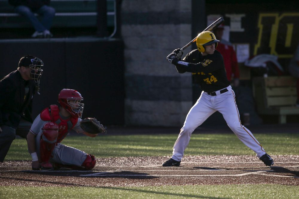 Iowa catcher Austin Martin at the game vs. Bradley on Tuesday, March 26, 2019 at (place). (Lily Smith/hawkeyesports.com)