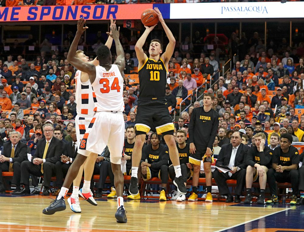 Iowa Hawkeyes guard Joe Wieskamp (10) makes a basket during the second half of their ACC/Big Ten Challenge game at the Carrier Dome in Syracuse, N.Y. on Tuesday, Dec 3, 2019. (Stephen Mally/hawkeyesports.com)