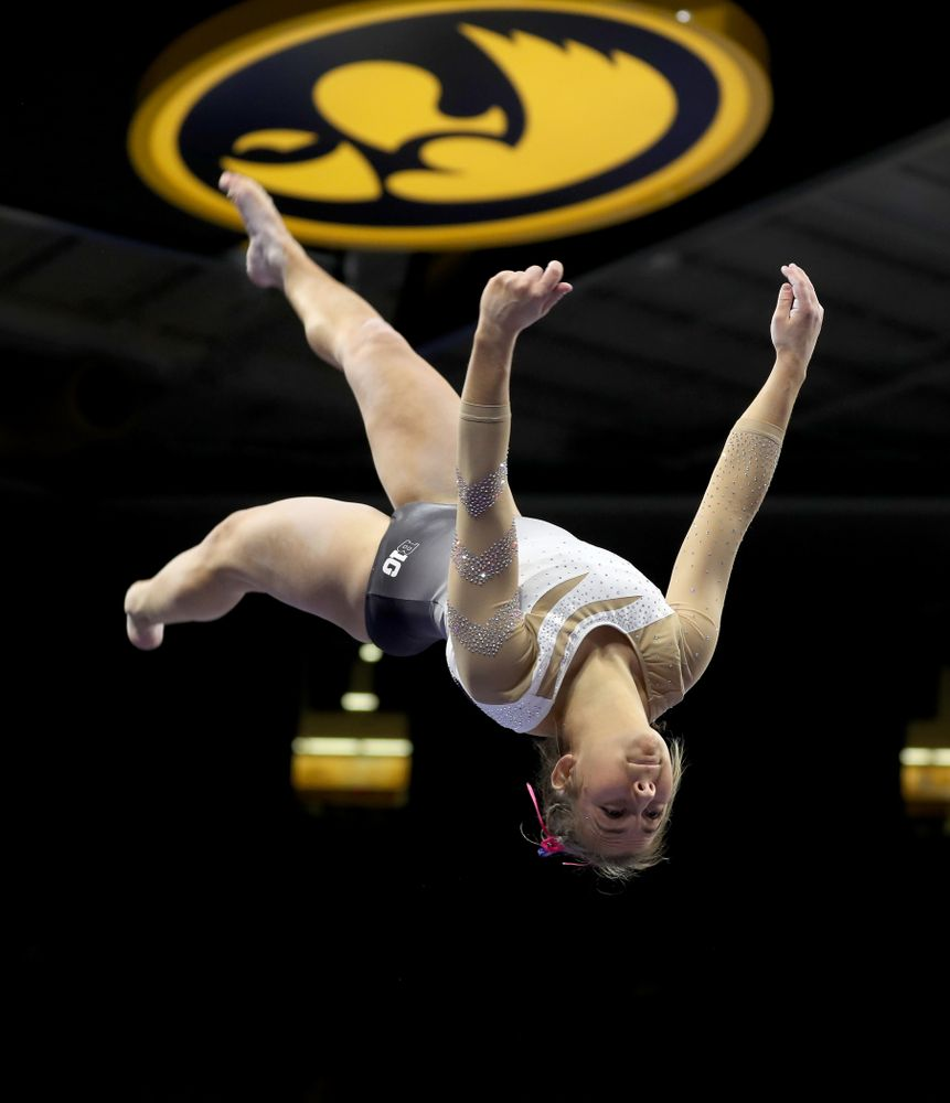 IowaÕs Alex Greenwald competes on the beam against Ball State and Air Force Saturday, January 11, 2020 at Carver-Hawkeye Arena. (Brian Ray/hawkeyesports.com)