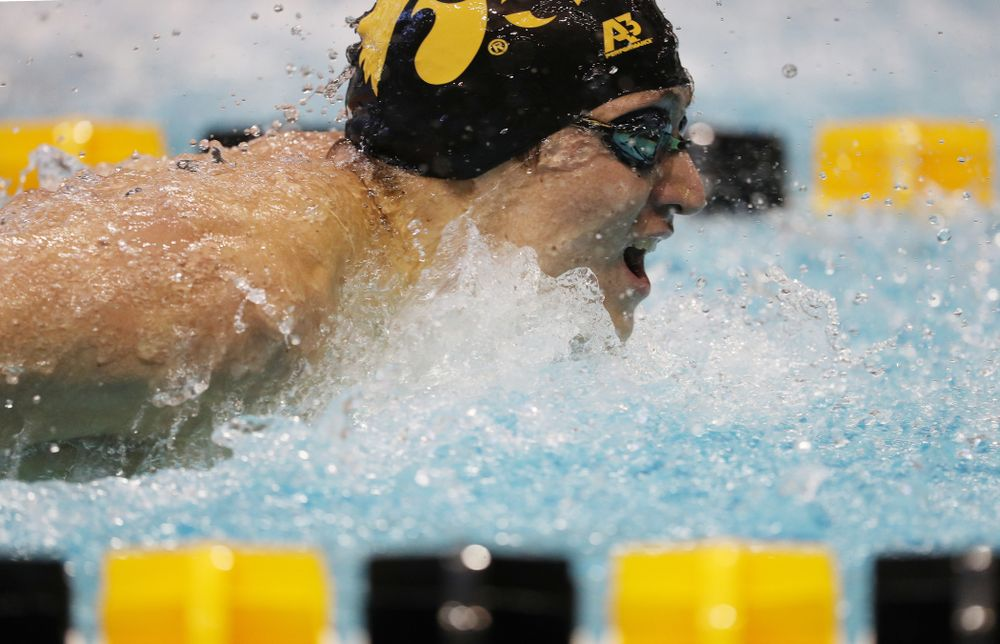 Iowa's Michael Tenney swims the 200 yard butterfly during a double dual against Wisconsin and Northwestern Saturday, January 19, 2019 at the Campus Recreation and Wellness Center. (Brian Ray/hawkeyesports.com)