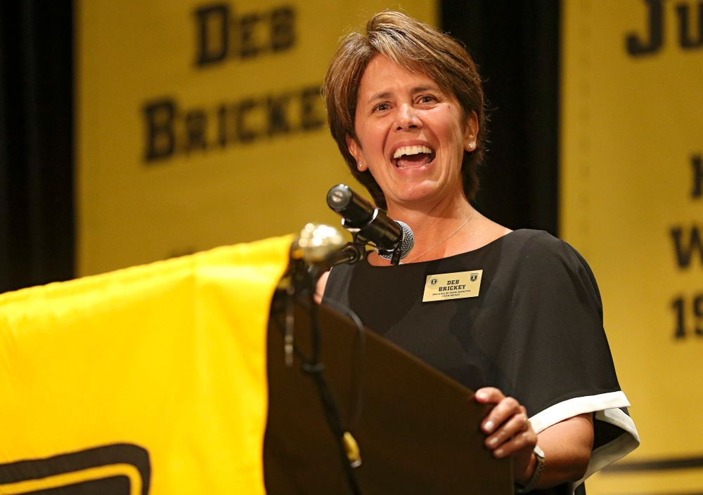 2019 University of Iowa Athletics Hall of Fame inductee Deb Brickey speaks during the Hall of Fame Induction Ceremony at the Coralville Marriott Hotel and Conference Center in Coralville on Friday, Aug 30, 2019. (Stephen Mally/hawkeyesports.com)
