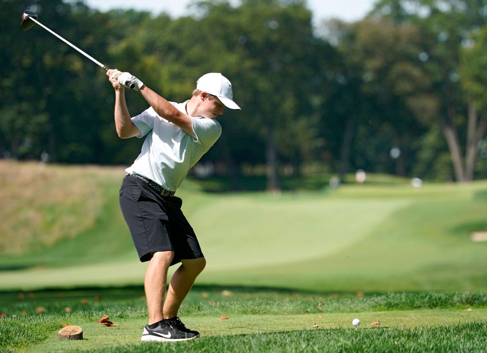 Iowa's Matthew Garside tees off during the second day of the Golfweek Conference Challenge at the Cedar Rapids Country Club in Cedar Rapids on Monday, Sep 16, 2019. (Stephen Mally/hawkeyesports.com)