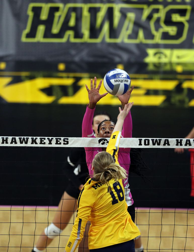 Iowa Hawkeyes outside hitter Griere Hughes (10) against the Michigan Wolverines Friday, October 11, 2019 at Carver-Hawkeye Arena.(Brian Ray/hawkeyesports.com)