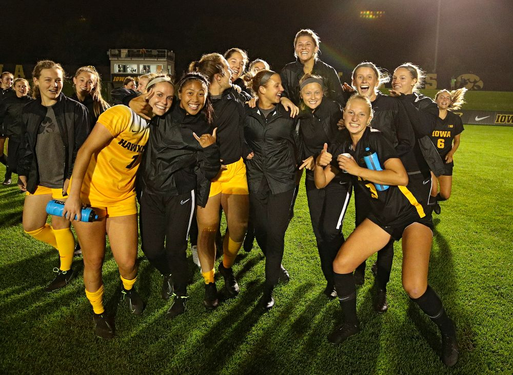 The Iowa Hawkeyes celebrate after their match against Illinois at the Iowa Soccer Complex in Iowa City on Thursday, Sep 26, 2019. (Stephen Mally/hawkeyesports.com)