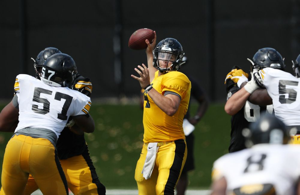 Iowa Hawkeyes quarterback Nate Stanley (4) during Fall Camp Practice No. 5 Tuesday, August 6, 2019 at the Ronald D. and Margaret L. Kenyon Football Practice Facility. (Brian Ray/hawkeyesports.com)