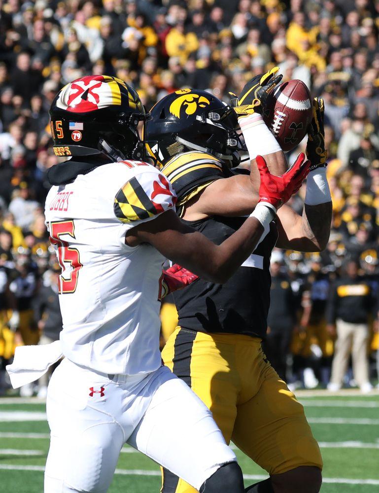 Iowa Hawkeyes defensive back Amani Hooker (27) intercepts a pass against the Maryland Terrapins Saturday, October 20, 2018 at Kinnick Stadium (Max Allen/hawkeyesports.com)