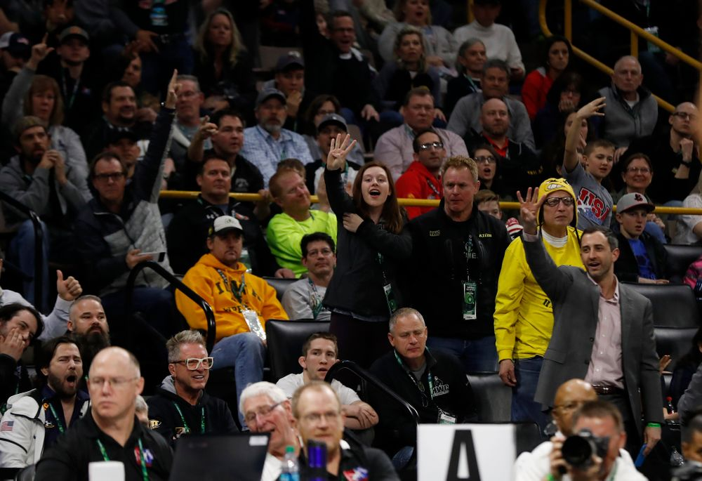 Fans during the gold medal match of the United World Wrestling Freestyle World Cup against Azerbaijan Sunday, April 8, 2018 at Carver-Hawkeye Arena. (Brian Ray/hawkeyesports.com)