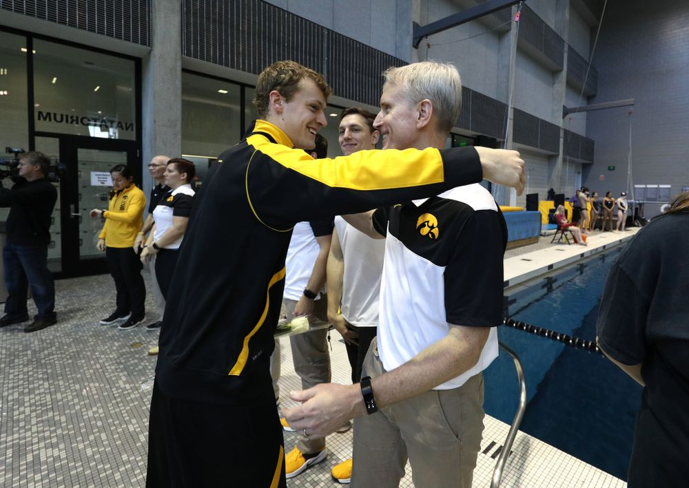 Ben Colin is introduced during senior day before a double dual against Wisconsin and Northwestern Saturday, January 19, 2019 at the Campus Recreation and Wellness Center. (Brian Ray/hawkeyesports.com)