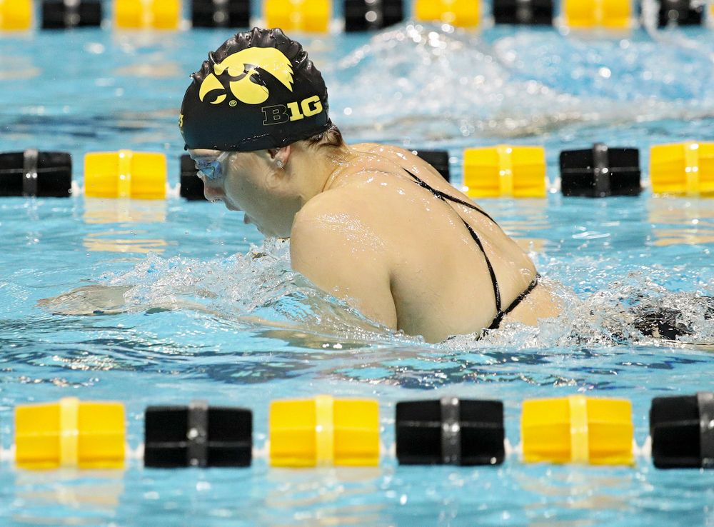 Iowa's Payton Lange swims the breaststroke section of the 100-yard individual medley event during their meet against Michigan State at the Campus Recreation and Wellness Center in Iowa City on Thursday, Oct 3, 2019. (Stephen Mally/hawkeyesports.com)