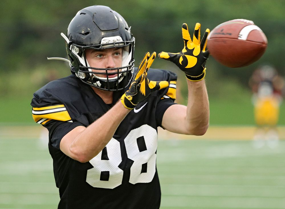 Iowa Hawkeyes tight end Jackson Frericks (88) pulls in a pass durning Fall Camp Practice No. 17 at the Hansen Football Performance Center in Iowa City on Wednesday, Aug 21, 2019. (Stephen Mally/hawkeyesports.com)