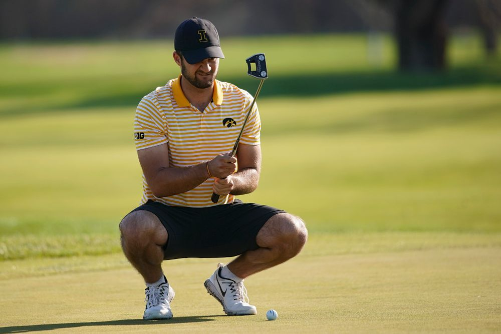 Iowa's Gonzalo Leal lines up a putt during the third round of the Hawkeye Invitational at Finkbine Golf Course in Iowa City on Sunday, Apr. 21, 2019. (Stephen Mally/hawkeyesports.com)