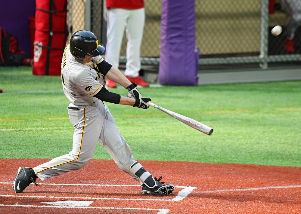 Iowa Hawkeyes catcher Austin Martin (34) bats during the fourth inning of their CambriaCollegeClassic game at U.S. Bank Stadium in Minneapolis, Minn. on Friday, February 28, 2020. (Stephen Mally/hawkeyesports.com)