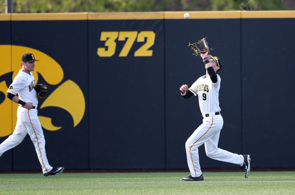 Iowa Hawkeyes outfielder Ben Norman (9) during game one against UC Irvine Friday, May 3, 2019 at Duane Banks Field. (Brian Ray/hawkeyesports.com)