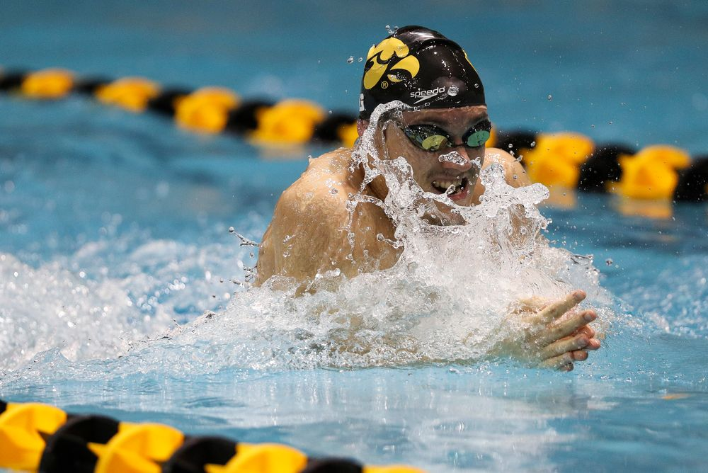 Iowa's Daniel Swanepoel competes in the 100-yard breaststroke during the third day of the Hawkeye Invitational at the Campus Recreation and Wellness Center on November 16, 2018. (Tork Mason/hawkeyesports.com)