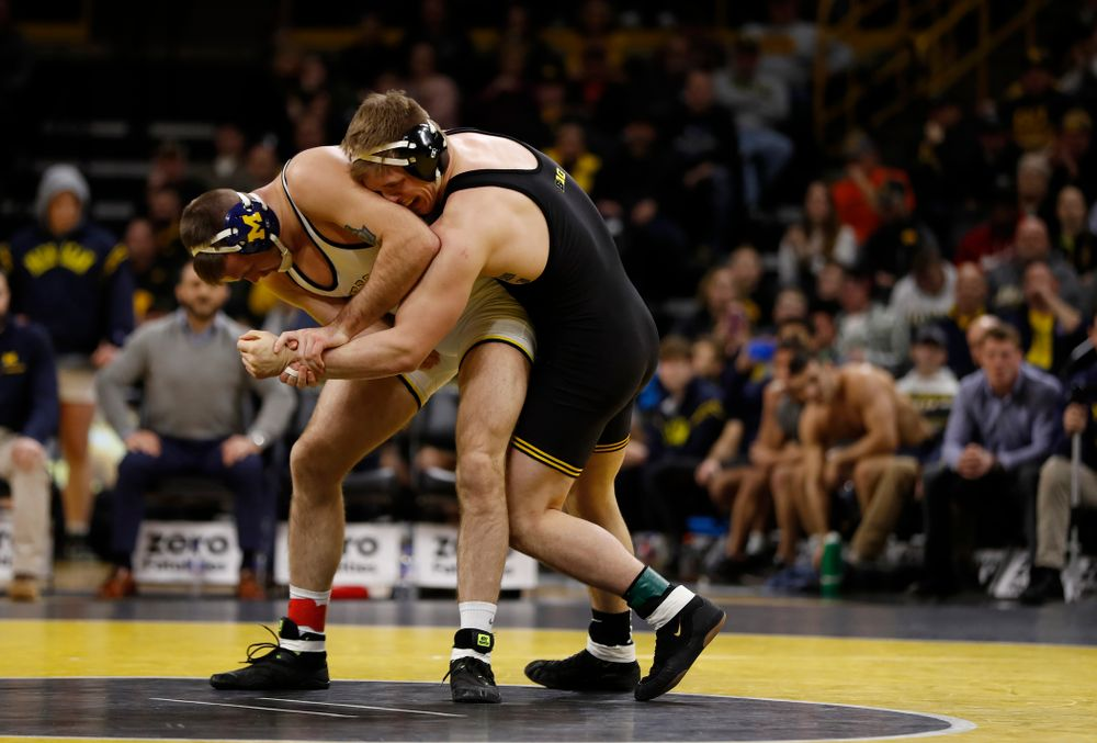 Iowa's Cash Wilcke against Michigan's Kevin Beazley at 197 pounds