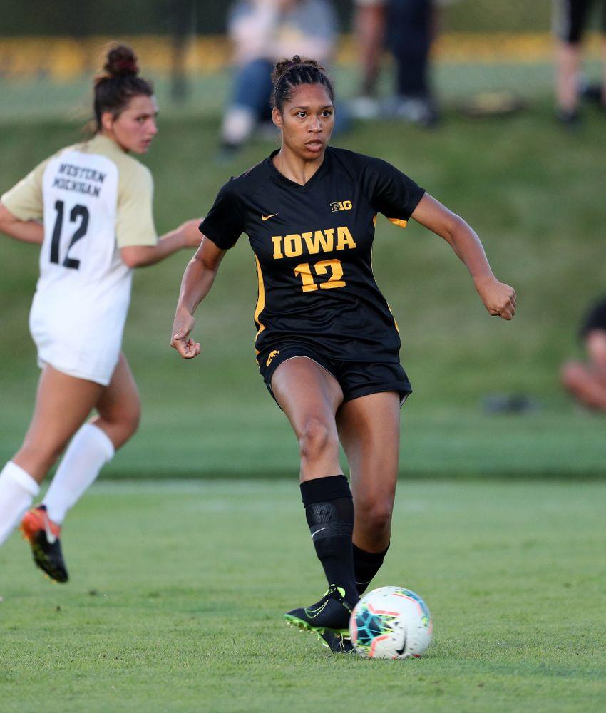 Iowa Hawkeyes forward Olivia Fiegel (12) against Western Michigan Thursday, August 22, 2019 at the Iowa Soccer Complex. (Brian Ray/hawkeyesports.com)