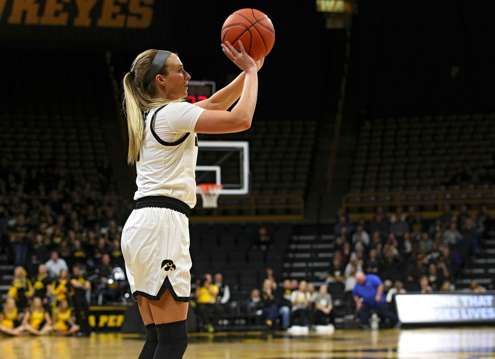 Iowa guard Makenzie Meyer (3) make a 3-pointer during overtime in their win against Princeton at Carver-Hawkeye Arena in Iowa City on Wednesday, Nov 20, 2019. (Stephen Mally/hawkeyesports.com)