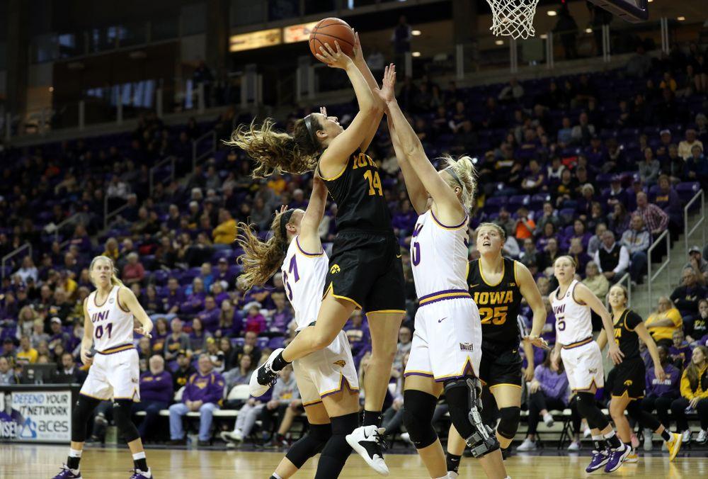 Iowa Hawkeyes forward McKenna Warnock (14) against Northern Iowa Sunday, November 17, 2019 at the McLeod Center. (Brian Ray/hawkeyesports.com)