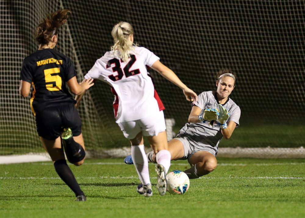Iowa Hawkeyes goalkeeper Claire Graves (1) makes a save against the Nebraska Cornhuskers Thursday, October 3, 2019 at the Iowa Soccer Complex. (Brian Ray/hawkeyesports.com)